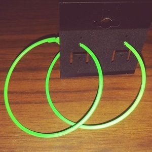 Jewelry - Lime Green Hoop Earrings 6 cm